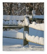 Snowy Fence Fleece Blanket