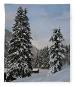 Snowy Fir Trees  Fleece Blanket