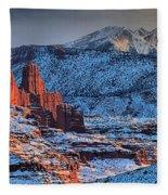 Snowy Fisher Towers Fleece Blanket