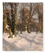 Snowy Forest Road 1908 Fleece Blanket