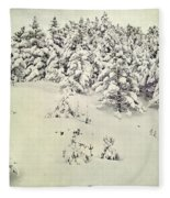Snowy Forest Vintage Fleece Blanket