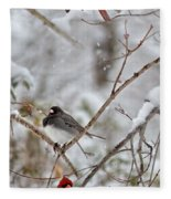 Snowy Grace Cardinals Fleece Blanket