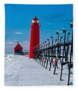 Snowy Grand Haven Pier Fleece Blanket