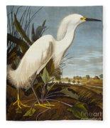 Snowy Heron Or White Egret Fleece Blanket