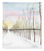 Snowy Lane Fleece Blanket