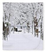 Snowy Lane In Winter Park Fleece Blanket