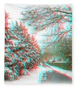 Snowy Lane - Use Red/cyan Filtered 3d Glasses Fleece Blanket