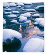 Snowy Merced River With Reflection Fleece Blanket