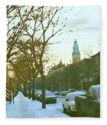 Snowy Montreal Winters City Scene Paintings Verdun Memories Church Across The Street Fleece Blanket
