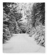 Snowy Mountain Road - Black And White Fleece Blanket