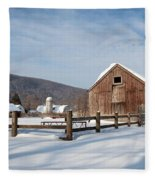 Snowy New England Barns Fleece Blanket