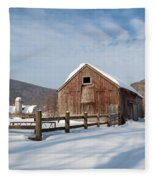 Snowy New England Barns Square Fleece Blanket