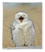Snowy Owl Yawning Fleece Blanket