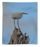 Snowy Perched Against A Bright Blue Sky  Fleece Blanket