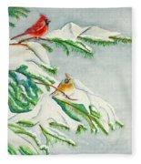 Snowy Pines And Cardinals Fleece Blanket