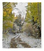 Snowy Road In Fall Fleece Blanket