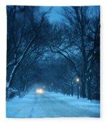 Snowy Road On A Winter Evening Fleece Blanket