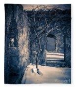 Snowy Ruins At Night Fleece Blanket