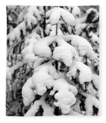 Snowy Tree - Black And White Fleece Blanket