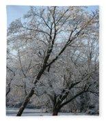 Snowcovered Trees Fleece Blanket