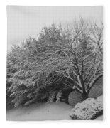 Snowy Trees In Black And White Fleece Blanket