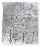 Snowy Trees In Winter Park Fleece Blanket
