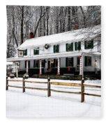 Snowy Valley Green Fleece Blanket