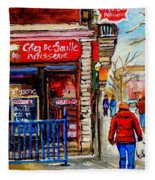 Snowy Walk By The Tea Room And Pastry Shop Winter Street Montreal Art Carole Spandau  Fleece Blanket