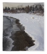Snowy Winter Beach Patterns - Lake Ontario Toronto Canada Fleece Blanket