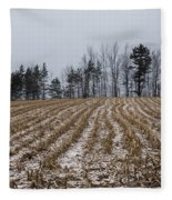 Snowy Winter Cornfields Fleece Blanket