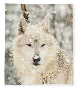 Snowy Wolf Fleece Blanket
