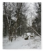 Snowy Wooded Path Fleece Blanket