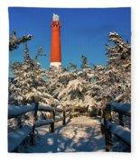 Snowy Woods At Barnegat Light Fleece Blanket
