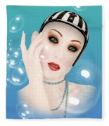 Soap Bubble Woman  Fleece Blanket
