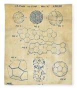 Soccer Ball Construction Artwork - Vintage Fleece Blanket