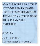 Socrates Quote In Cyan Fleece Blanket