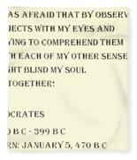 Socrates Quote In Sepia Fleece Blanket