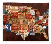 Soda Pop America Fleece Blanket
