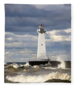 Sodus Outer Lighthouse On Stormy Lake Fleece Blanket