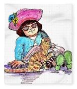 Sofie And Mittens Fleece Blanket
