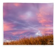 Soft Diffused Colourful Sunset Over Dry Grassland Fleece Blanket