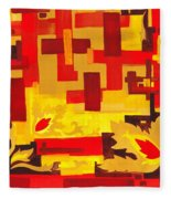 Soft Geometrics Abstract In Red And Yellow Impression I Fleece Blanket