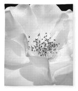 Soft Petal Rose In Black And White Fleece Blanket
