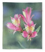 Soft Pink Alstroemeria Flower Fleece Blanket