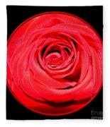 Soft Red Rose Closeup Fleece Blanket