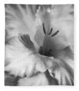 Soft Silver Gladiola Flower  Fleece Blanket