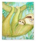 Soggy Mossy Sloth Fleece Blanket
