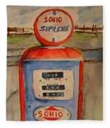 Sohio Gasoline Pump Fleece Blanket