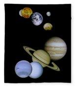 Solar System Montage Fleece Blanket