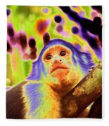 Solarized White-faced Monkey Fleece Blanket